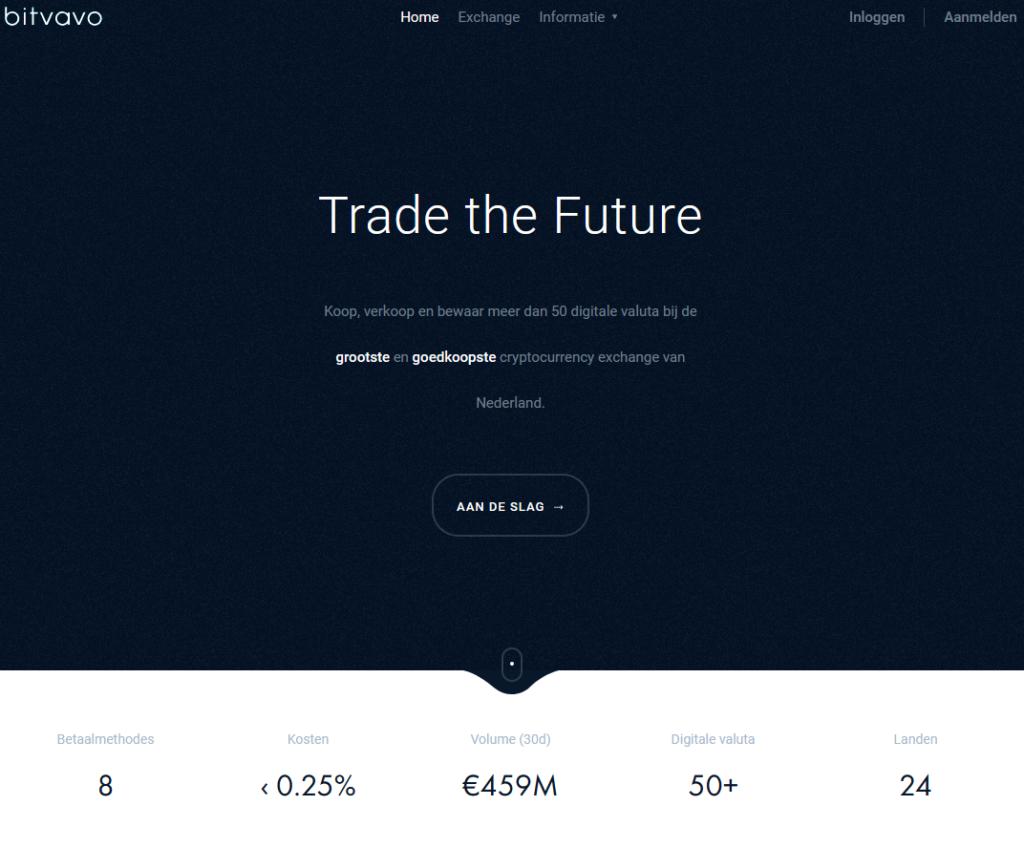 Bitvavo beurs website voorzijde