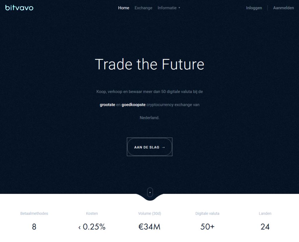 Bitvavo nieuw design voorpagina website broker bij CoinCompare