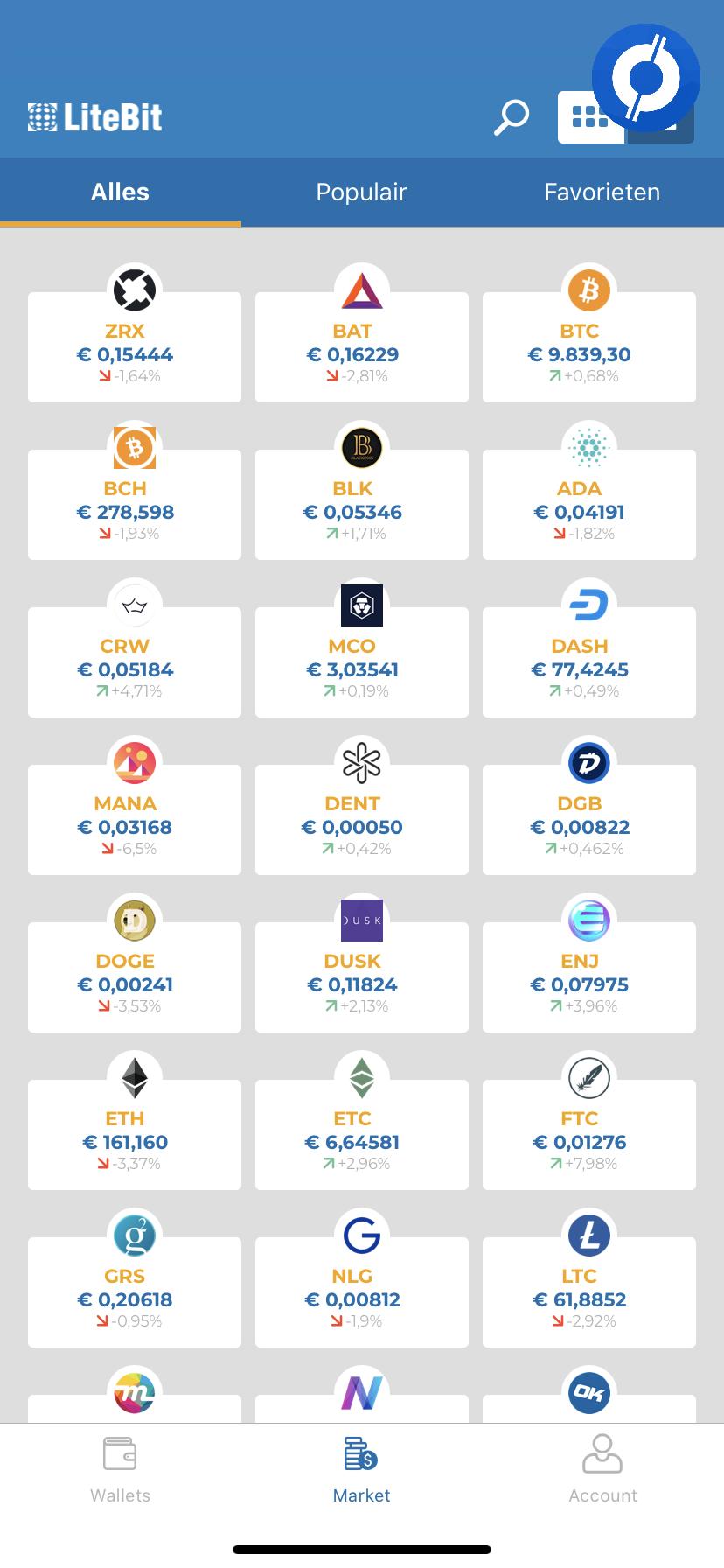 LiteBit app Market overview with cryptocurrencies