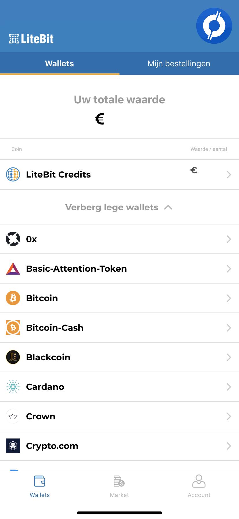 LiteBit app with Wallet and cryptocurrencies shown