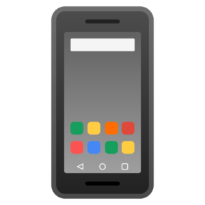 Black phone with a couple colored apps