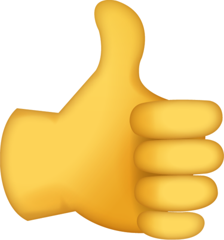 Yellow hand with thumbs up