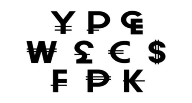 Several black coloured currency symbols