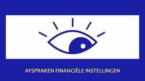 Blauwe achtergrond met een wit rechthoekig vlak met een oog als supervisie banner DNB voor financiele instellingen.