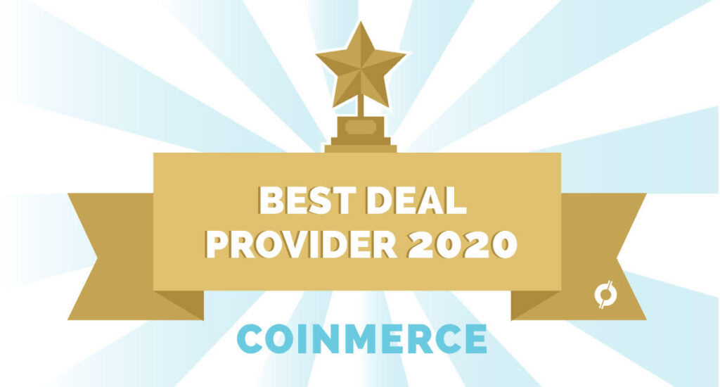 Light blue sunbeams with a golden ribbon for Best Deal Provider 2020 Coinmerce at CoinCompare