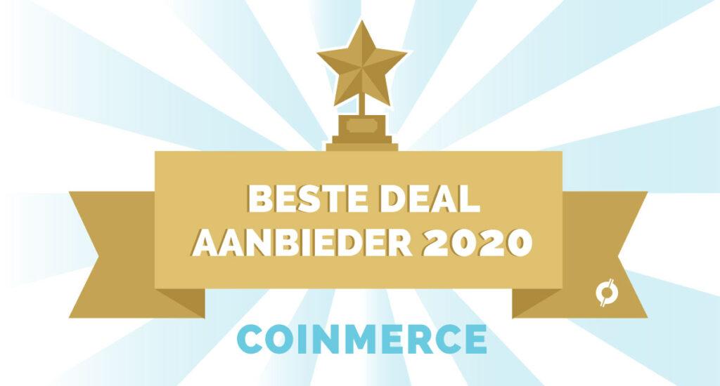 Licht blauwe zonnestrallen met een gouden lint voor Beste Deal aanbieder 2020 Coinmerce bij CoinCompare