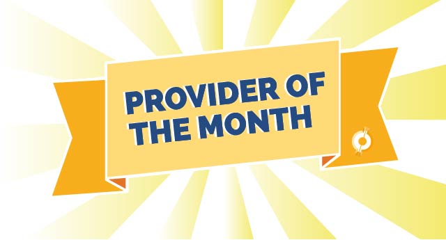 Light yellow sun beames with orange yellow CoinCompare ribbon and provider of the month