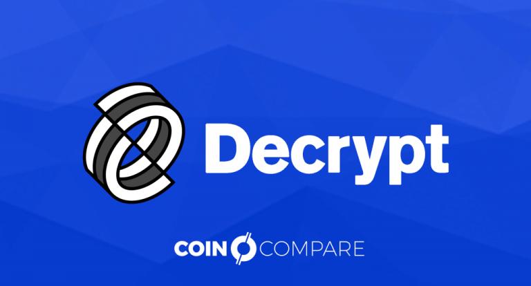 Decrypt news at CoinCompare blue titel banner EN