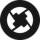 Black circle with a white twisted arrows as 0x (ZRX) token logo - CoinCompare