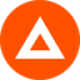 Licht rode cirkel met een witte driehoek als Basic Attention Token (BAT) token logo - CoinCompare