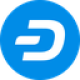 Blauwe cirkel met een witte valuta letter D symbool als Dash (DASH) coin logo - CoinCompare