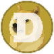 Mustard coloured circle with a Shiba Inu and a white letter D as Dogecoin (DOGE) memecoin logo - CoinCompare