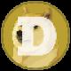 Mosterd gekleurde cirkel met een Shiba Ina en een witte letter D als Dogecoin (DOGE) memecoin logo - CoinCompare