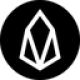 Black circle with a white diamond shaped symbol as EOS (EOS) coin logo - CoinCompare