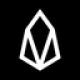 Zwarte cirkel met een witte diamant gevormde symbool als EOS (EOS) coin logo - CoinCompare