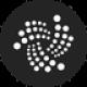 Zwarte cirkel met witte gestippelde gedraaide lijnen als IOTA (MIOTA) coin logo - CoinCompare
