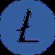 Donker blauwe cirkel met een transparante valuta L symbool als Litecoin (LTC) coin logo - CoinCompare