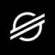 Zwarte cirkel met een witte wereldbol en raketstralen doorheen als Stellar (XLM) coin logo - CoinCompare