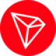 Red circle with a white diamond shaped symbol as TRON (TRX) coin logo - CoinCompare
