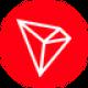 Rode cirkel met een wit diamant gevormde symbool als TRON (TRX) coin logo - CoinCompare