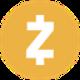 Donker oranje cirkel met een witte valuta Z symbool als Zcash (ZEC) coin logo - CoinCompare